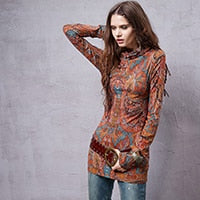 Ethnic Vintage Floral Long Sleeve T-shirt