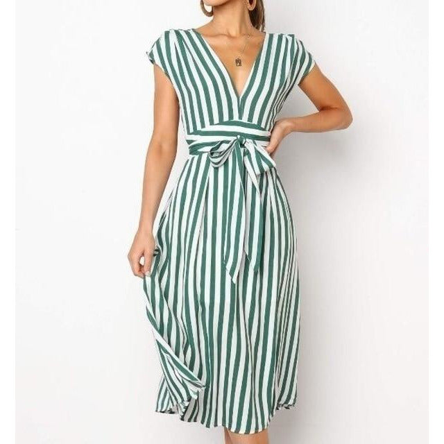 Short Sleeve Striped T Shirt Dress
