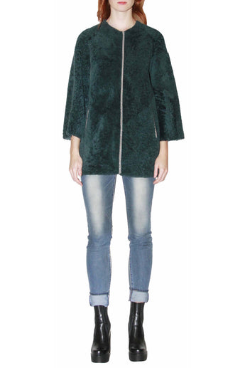 Green Merinillo Shearling Coat with Piping
