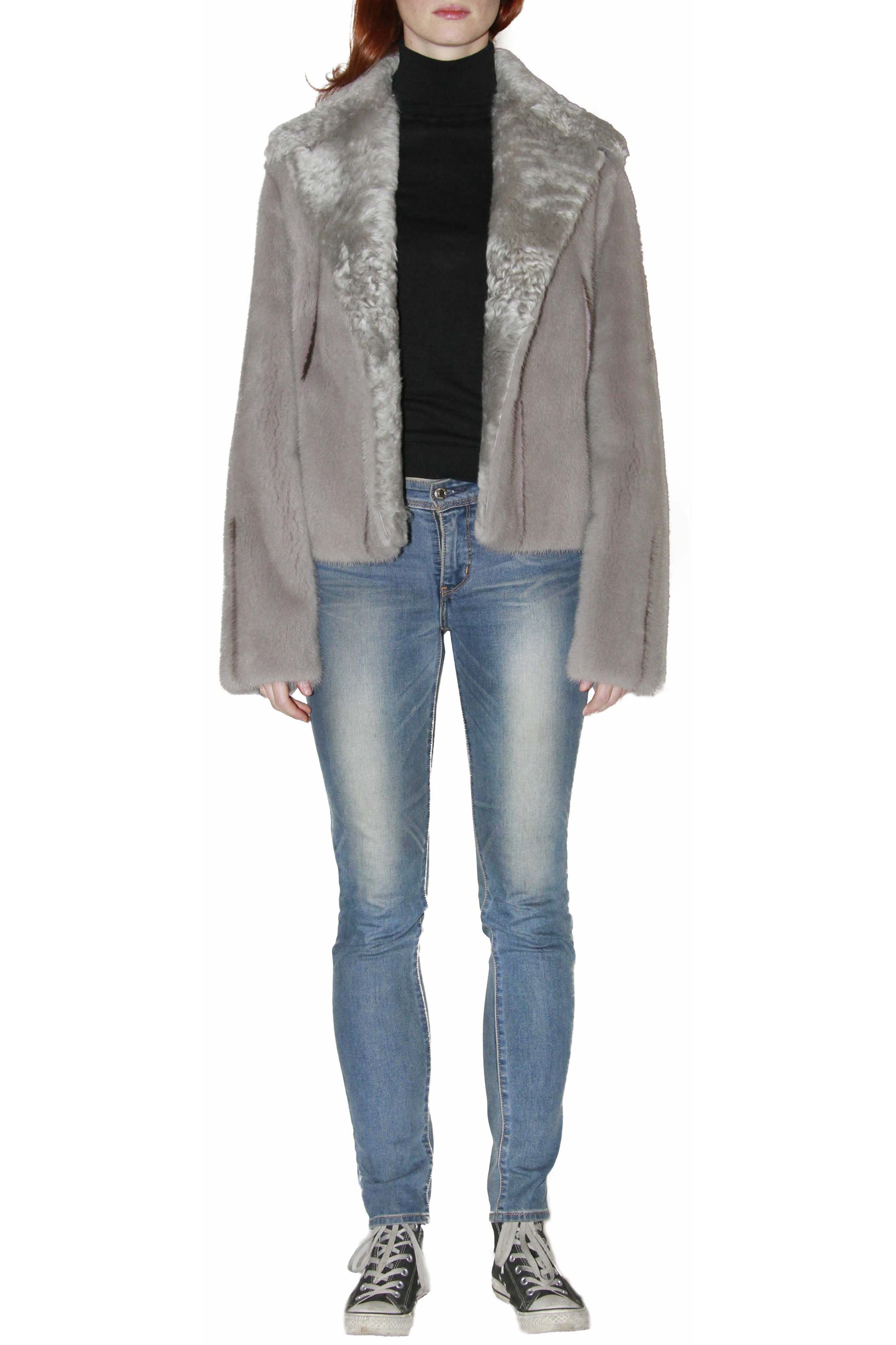 Pearl Grey Mink with Shearling Collar