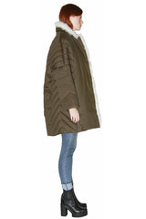 Cotton Parka O-shaped with White Shearling