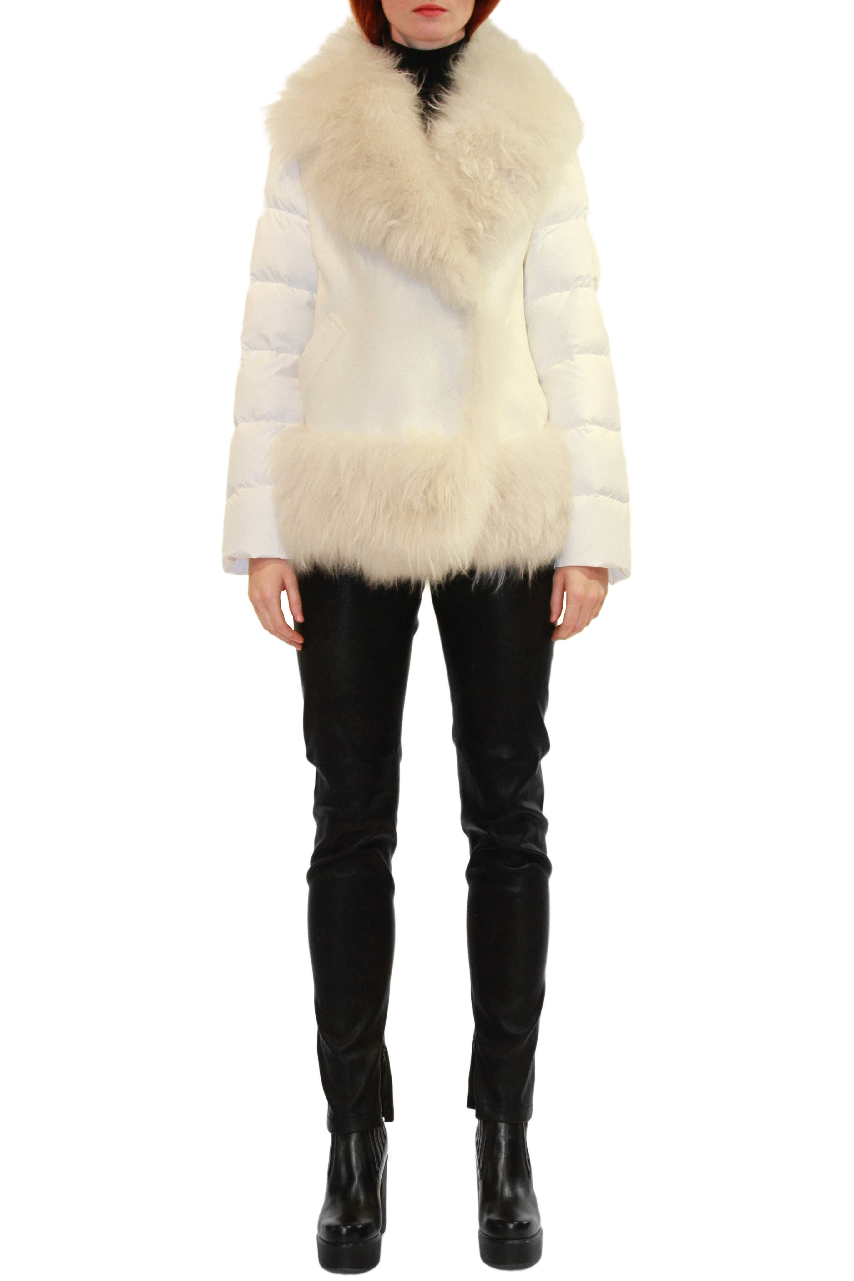 White Down Parka with White Super-Lux Fabric and Cashmere Fur