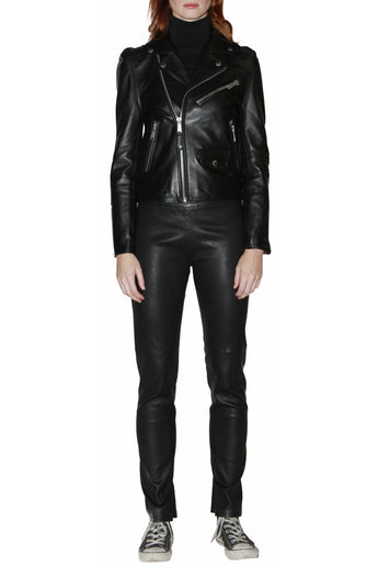 Leather Jacket with Back Panel Metal and Cut Detail