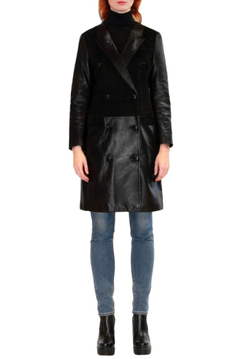 Leather and Suede Combo Coat