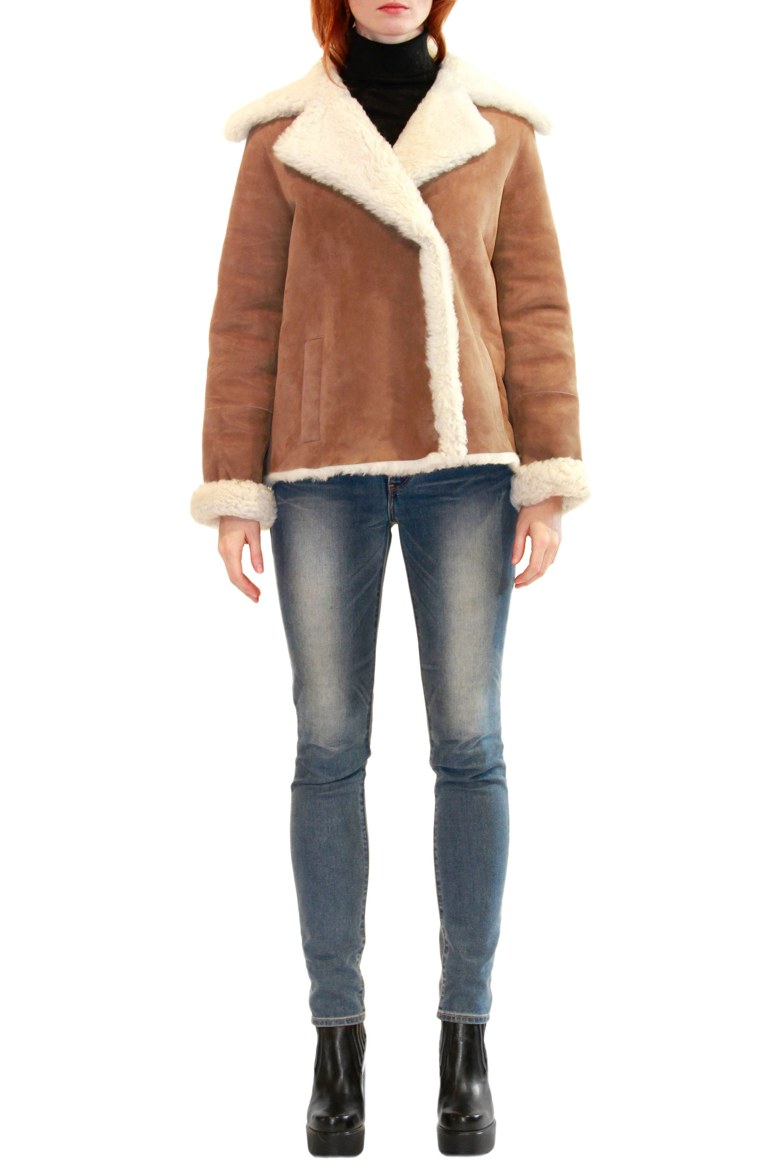 Shearling Jacket with Notched Collar