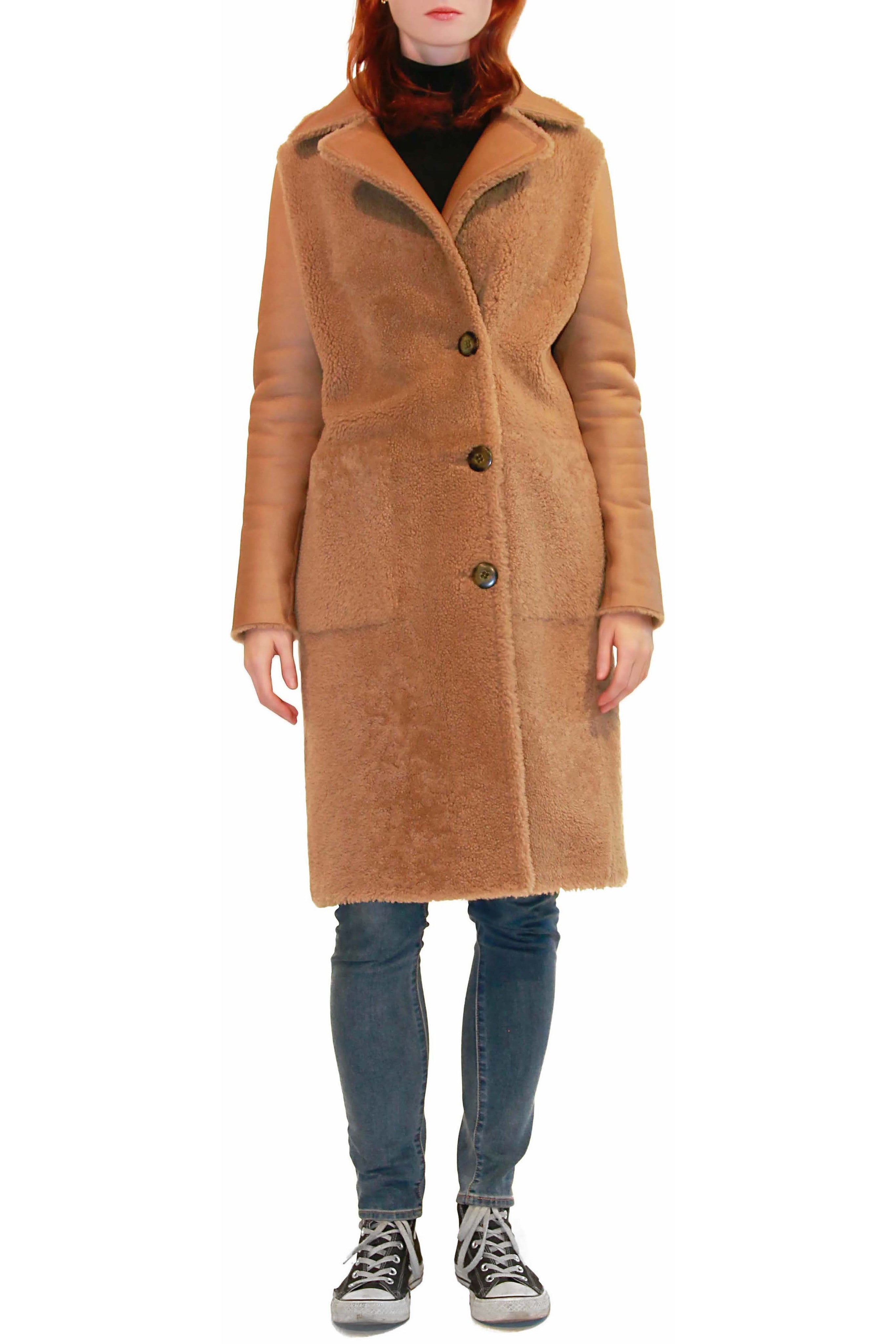 Whisky Shearling Coat with Buttons