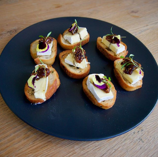 Crostini with truffle brie & port soaked figs (vegetarian)