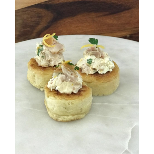 Crumpets topped with smoked fish pate