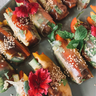 Seared beef rice paper rolls with hoisin sauce
