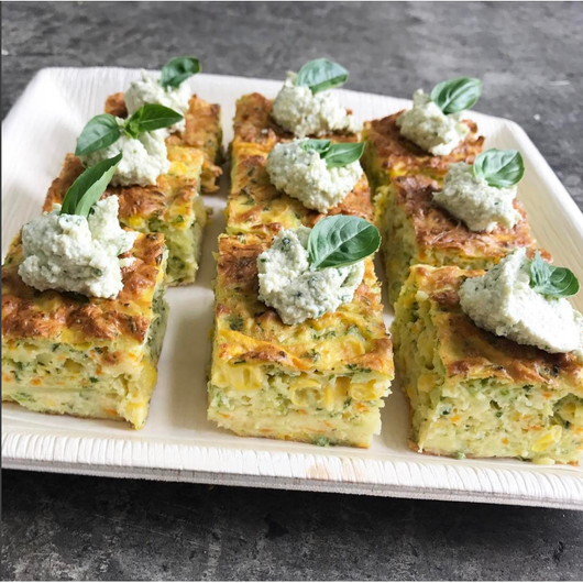 Herb slice with cashew nut cheese (GF,V)