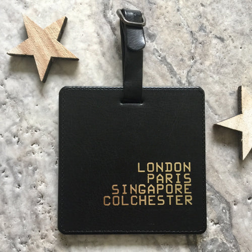 Personalised fave places luggage tag