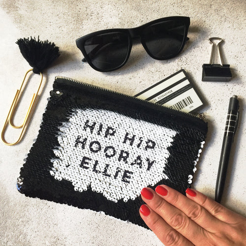 Hip Hip Hooray Sequin reveal pouch