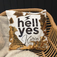 Hell Yes personalised sequin cushion cover