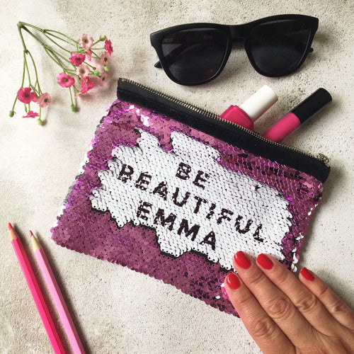 Be Beautiful Sequin Reveal Pouch