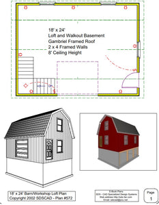 18' x 24' Barn/Workshop Loft Plan