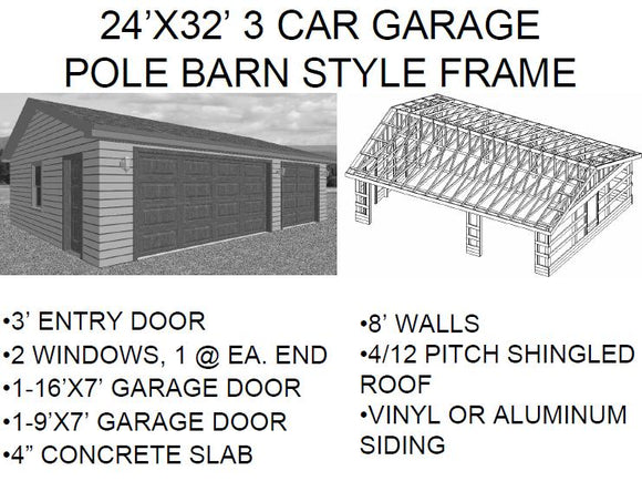 24'X32' 3 CAR GARAGE POLE BARN STYLE FRAME With in PDF  Files