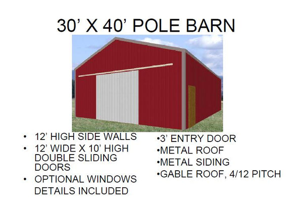 30' X 40' POLE BARN PLAN