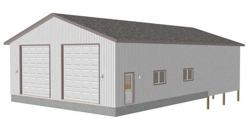 G416 38 x 43 x 14 detached shop with 38 x 24 pole barn RV Garage Plans