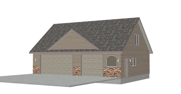 #G424 40'x30' x 9' detached garage plans with bonus room in PDF Files