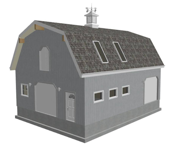 G440 28' x 36' x 10' Gambrel Barn Workshop Plans Blueprint in PDF