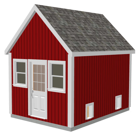 G488 10 x 14 x 8 Garden Shed / Chicken Coop / Playhouse / Bunkhouse