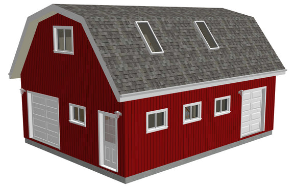 #G551 24' x 32' x 10' Gambrel Barn Plans With Loft in PDF