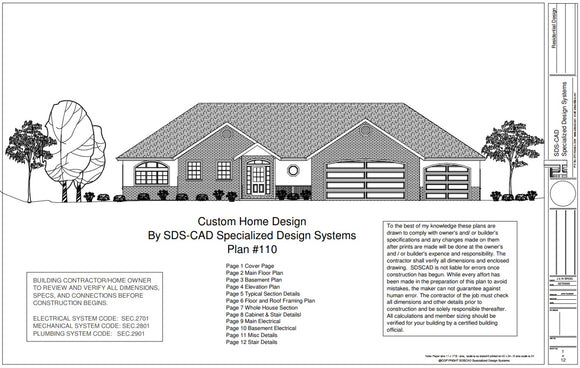 H110 Ranch House Plans 1850 sq ft main 5 bedroom 4 bath in PDF