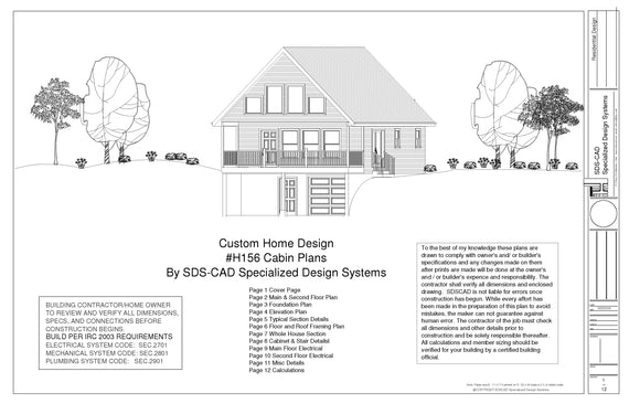 H156 24 x 32 Cabin Plans with PDF