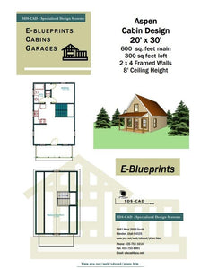 H259 Aspen Cabin Design 20' x 30' in PDF