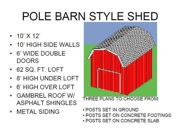POLE BARN STYLE SHED PLAN
