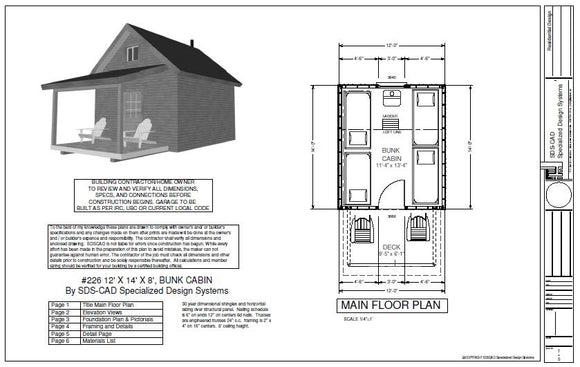 #226 12' X 14' X 8', Bunk House Cabin Plan