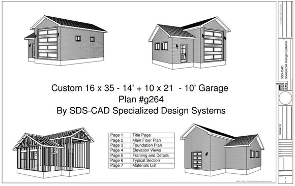 g264 16 x 35 x 14 10 x 21 x 10 RV garage Plans Blueprints