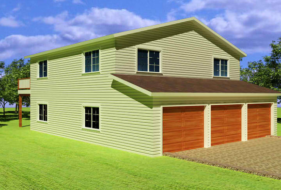 G318 Custom 32 x 40 - 8' Two Story Garage Plan