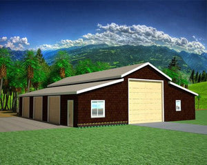 G471 Apartment Barn Style 50' x 60' - 9' Sides 14' Center Garage Plan