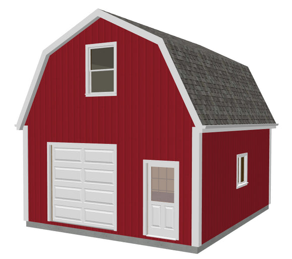 g524 20 X 24 X 10 Gambrel Garage Barn Plans PDF