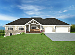 H106 Ranch Custom Classic House Plans Salon in basement 2200 SQ FT Main