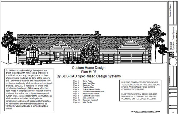 H107 Executive Ranch House Plans 2000 SQ FT Main 4 Bedroom 3 Bath in PDF files
