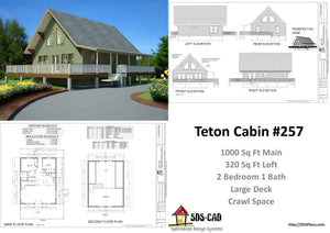 #h257 1000 sq ft Custom Cabin Design With Crawl Space in PDF