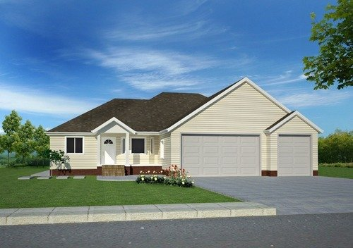 #h82 Brick Ranch custom house Plans 3 bdrm 2 bath 1750 sq ft