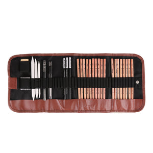 18pcs Pen Charcoal Sketch Set Sketching Pencil Set Roll Up Canvas Carry Pouch of Pencils Eraser Craft Knife Pencil Extender 29pcs Total for Beginners Artist
