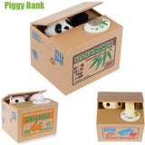 Automatic Panda or Cat Stealing Coin Piggy Bank