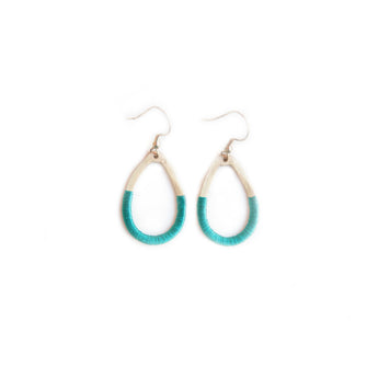 Teal threaded World Finds fair trade earrings.