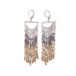 Chevron multi metal beaded earrings. World Finds fair trade.