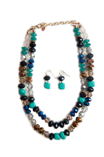 Multi colored beaded necklace with earrings.