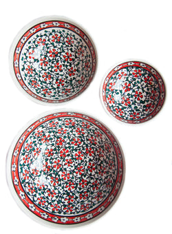 Red hand painted Turkish bowls
