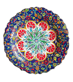 Blue hand painted Turkish plate 25 cm.