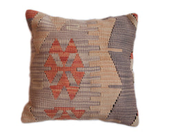 Hand Woven Turkish Kilim pillow cover in tan, grey, and orange.