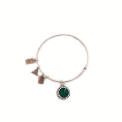 Wind & Fire May birthstone silver adjustable bracelet.