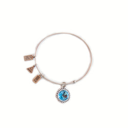 Wind & Fire March birthstone silver adjustable bracelet