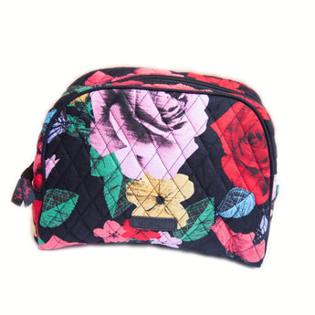 Vera Bradley Havana Rose pattern large zip cosmetic bag.